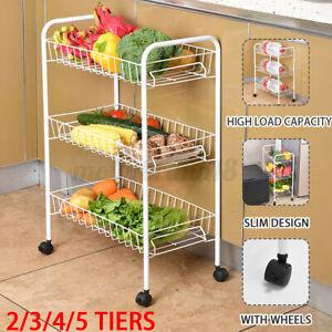 2/3/4/5 Tiers Kitchen Trolley Vegetable Food Rack Storage Shelf Cart Rolling