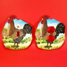 2 Piece Set - Country Rooster Single Toggle Light Switch Plate & Outlet Cover