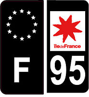 4 Autocollants 2 paires Stickers style Auto Plaque Black Edition noir F+ 95