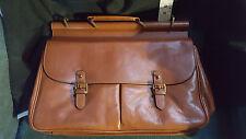 BNWT Trafalgar Chestnut Leather Brief Messenger Bag Made in USA $650 Graduation