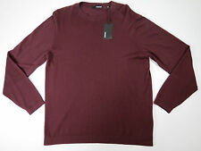 Murano Mens Burgundy / grey / teal  Long Sleeve Crewneck Knit Shirt SZ Large