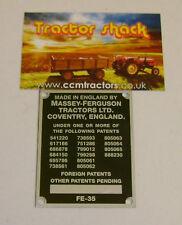Tracteur Massey Ferguson FE35 Commission plaque