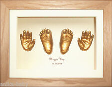 New Baby Girl Boy Gift Casting Kit hand foot cast Solid Oak 3D Box Display Gold