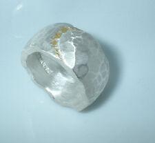 11 mm breiter Bandring , Gold 750,  Silber 999, Flamere Design by Dieter Fischer