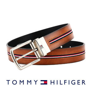 Men's Tommy Hilfiger Tan Black Faux Leather Trim Combo Reversible Dress Belt