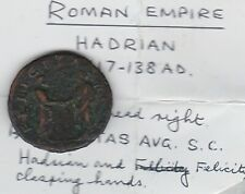 HADRIAN AND FELICITY AD 117-138 BRONZE COIN IN FINE CONDITION
