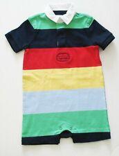 Ralph Lauren Baby Boys Bold Striped Polo Shortall Cycle Green Multi Sz 12M - NWT