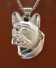 Large Sterling Silver French Bulldog Head Study Pendant