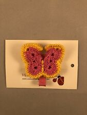 Girls Crochet Butterfly Pink Yellow Hair Clip New