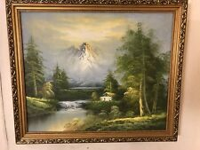Painting, Oil On Canvas Alpine Mountain Stream&Cottage.C12pix4detail. MAKE OFFER