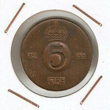 Suecia ( Sweden ) : 5 Öre 1955 TS ( buen ejemplar )
