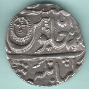 INDORE STATE SUN FACE SILVER RUPEE IN THE NAME OF SHAH-ALAM II TOP CONDITION