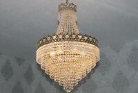 Gigantischer antike Wiener Messing Kristall Korblüster Lüster Kronleuchter Lampe