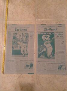 1998 Mark McGwire ties sets Maris MLB HR Record printing plate pair St Louis Ca