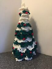 Crochet Christmas Tree, Green with White Tips, Red Pompon Berries Preowned