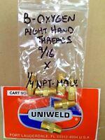 "UNIWELD, WELDING Hose Adapter, B Oxygen R.H.T. 9/16"" x 1/4"" N.P.T. Male threads"