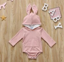 Infant Baby Bunny Hooded Romper Bodysuit Outfit Soft 18-24 Months PINK