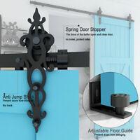 5/6/6.6/8/10FT Sliding Barn Door Hardware Kit Track Hang Adjustable Floor Guide