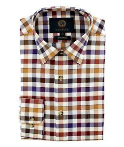 Viyella Cotton Brown & Blue Edged Check Classic Fit Shirt
