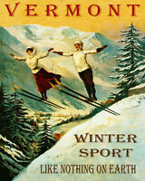 POSTER VERMONT COUPLE SKI JUMPING WINTER SPORT SKIING VINTAGE REPRO FREE S/H