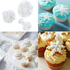 Best 3pcs Snowflake Paste Cookie Cake Decorating Cupcake Cutter Plunger mould GI