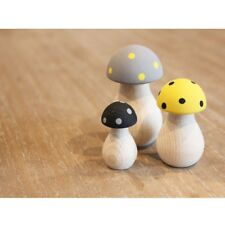 Tall Toadstool Mushroom Wooden Ornaments Set of 3 Black Grey Yellow