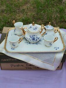 VINTAGE  Decor a Sevre Style Porcelain Tea Set Floral, Blue/gold  good mini