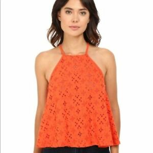 Free People Dream Date Eyelet Tank Embroidered Sleeveless Drawstring Top L NEW
