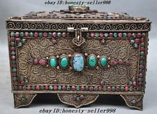 Collect old Tibet Silver Filigree inlay Gem Turquoise Jewelry Box Jewelery boxes