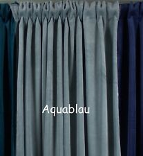 Vorhang Gabriella Samt Aquablau 140x280 Cm