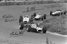 GRAHAM HILL, JIM CLARK, RICHIE GINTHER, & DAN GURNEY - Repro-Autogramm, 20x30cm