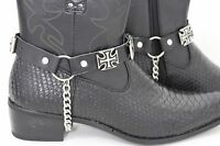 Men Boot Silver Metal Chain Black Leather Straps Iron Cross Charm Bike Religious
