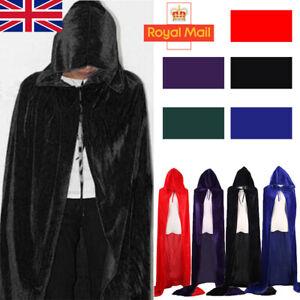 170cm Halloween Velvet Witchcraft Cloak Robe Cape Hood Costume Medieval Xmas UK