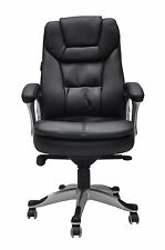 Office Chair Adjustable Height Gas Lift 360 Degree Turn PU Leather Padded Black