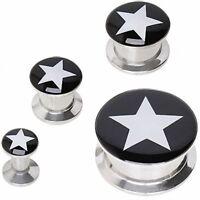 Piercing plug ear black star