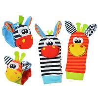 4pcs set Infant Baby Kids Hand Wrist Bell Foot Sock Rattles Soft Animal Toy