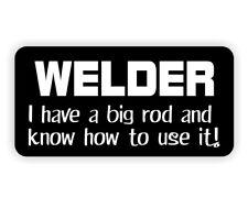 (10) Funny Welder - Big Rod Hard Hat Stickers / Welding Biker Helmet Decals Weld
