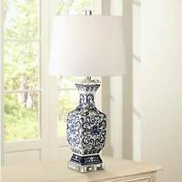 Asian Table Lamp Porcelain Blue Floral Jar White for Living Room Bedroom