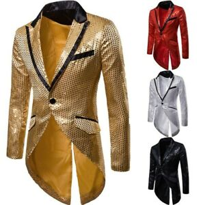 Men's Sequins Lapel One Button Jacket Slim Fit Evening Dress Tuxedo Coat Blazer
