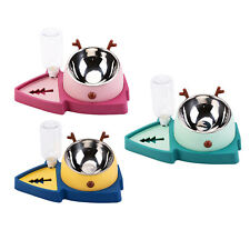 Double Dog Cat Bowls Automatic Water Dispenser Feeder Bowl No-Spill Pet
