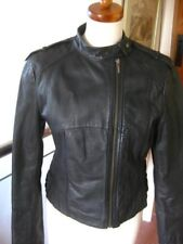 Ladies NEXT black real leather JACKET COAT size UK 12 10 cafe racer biker bomber