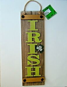 St Patricks Day Wall Decor Wooden Plaque Sign 24x7 Irish Shamrock Rustic Banner