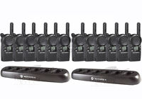 12 Motorola CLS1110 Two Way Radios with 2 6-Bank Chargers