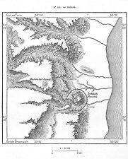 """ISRAEL """" CARTE MAP / MASADA / MASSADA  """" GRAVURE ENGRAVING 1884"""