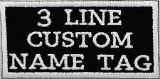 """Bikers Custom 3 Line Name Tag Embroidered Sew on Patch 4"""" x 2"""""""