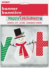 Noël Happy Holidays Brillant Bannière Fête Bonhomme de Neige Décoration