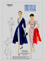 V8875 Vogue Dress & Coat SEWING PATTERN Sizes 8-16 Vintage 1955 Detach Collar