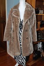 Womens Vintage Glenbrooke Beige Faux Fur Coat sz 10 Large