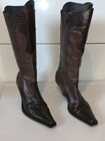 Maria Lya Womens Boots Sz 7 M Brown Leather Upper With Animal Print Zip Tall