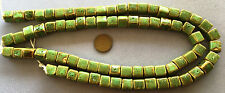 """16"""" Strand 10x10mm Hand-Crafted PORCELAIN CUBES-Green and Brown - RAKU LOOK"""